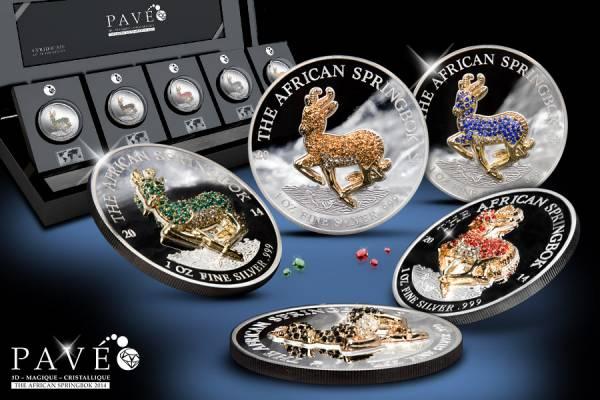 5 x 1.000 Francs Gabun Springbock Pavé Coin Set 2014   Polierte Platte