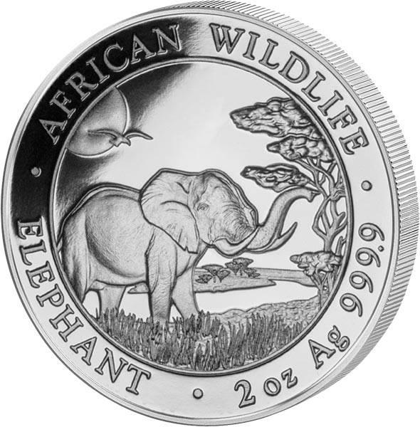 2 Unzen Silber Somalia Elefant 2019