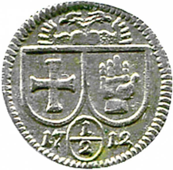 1/2 Kreuzer Frei Reichsstadt Schwäbisch Hall 1712 sehr schön bis vorzüglich