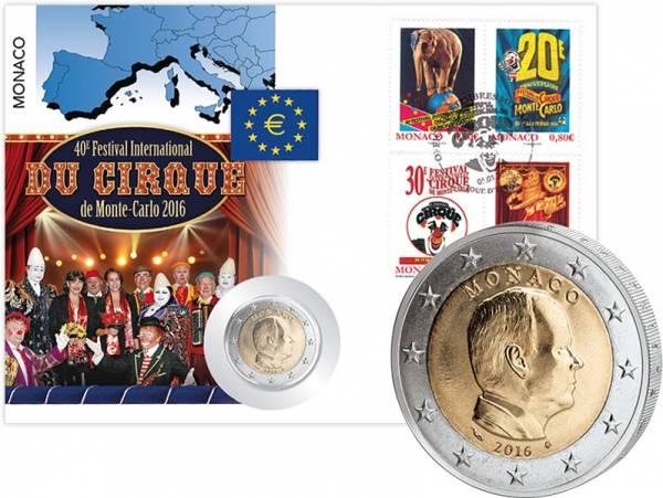 2 Euro Numisbrief Monaco 40. Internationales Zirkusfest von Monte-Carlo 2016
