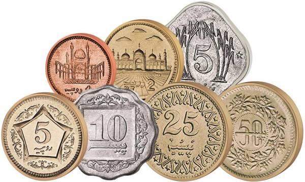 5 Paise - 5 Rupien Kursmünzensatz Pakistan 1981-2006