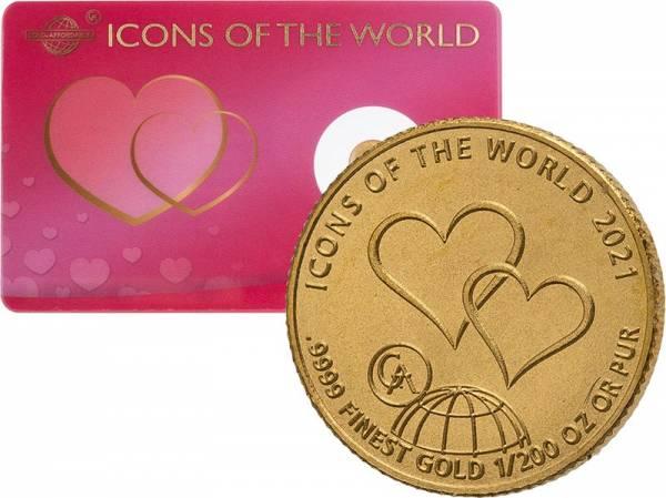 1/200 Unze Gold Ruanda Valentinstag 2021