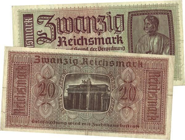 20 Reichsmark Deutschland Brandenburger Tor 1939 Zirkuliert