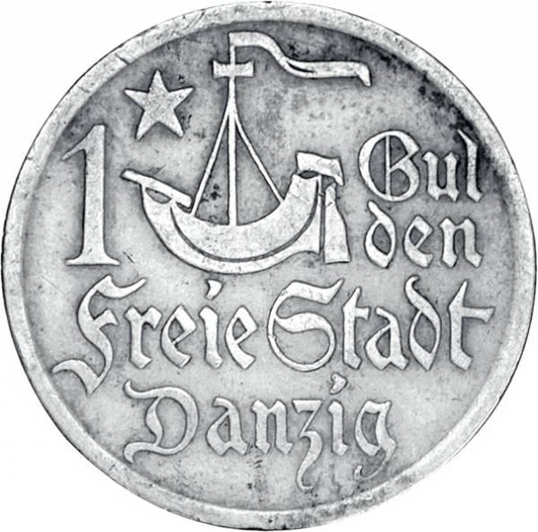 1 Gulden Danzig Stilierte Kogge 1923 Sehr schön