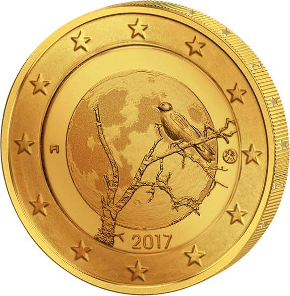 2 Euro Finnland Finnische Natur 2017 vollvergoldet