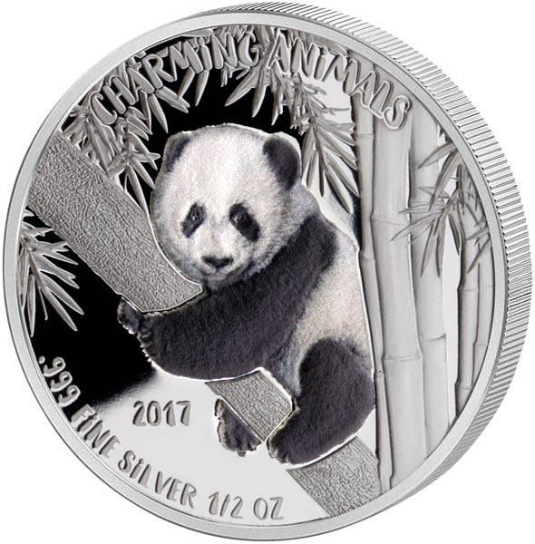 1/2 Unze Benin Charming Animals Panda 2017