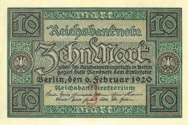 10 Mark Deutschland Reichsbanknote 1920