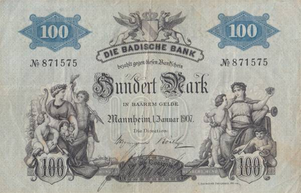 100 Mark Baden Länderbanknote 1907