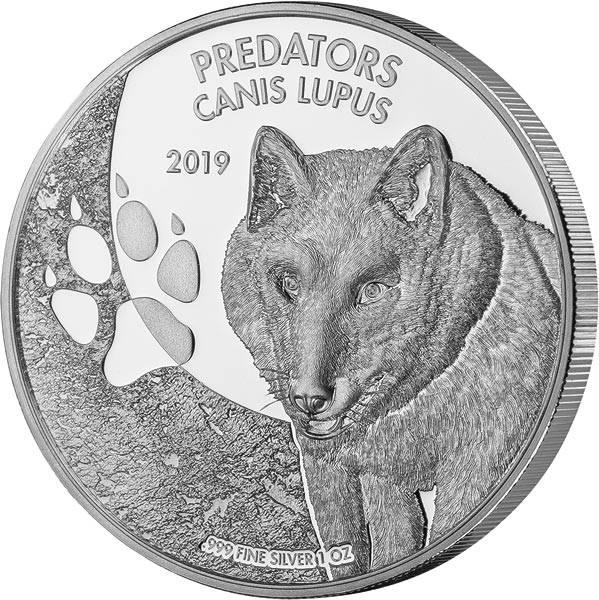 1 Unze Silber Kongo Predators Wolf 2019