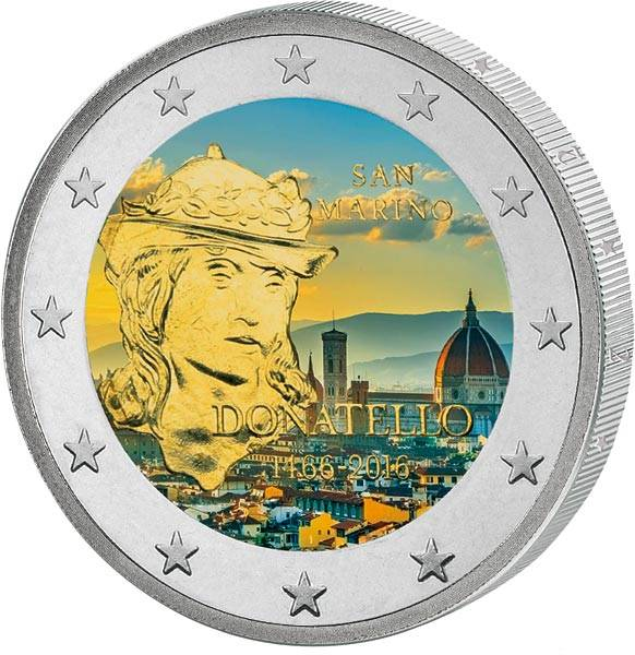 2 Euro San Marino 550. Todestag Donatello 2016 mit Farb-Applikation