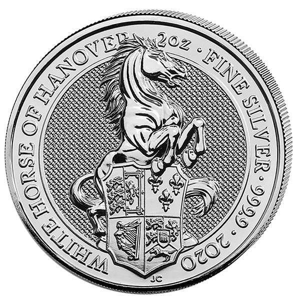 2 Unzen Silber Großbritannien Queens Beasts Das weiße Pferd von Hannover 2020