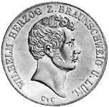 Doppeltaler Silber Herzog Wilhelm 1842-1850 vorzüglich