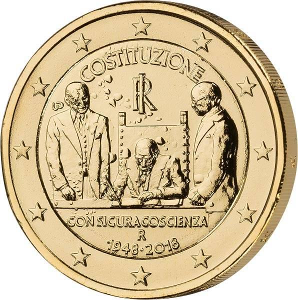 2 Euro Italien 70 Jahre Verfassung 2018 vollvergoldet