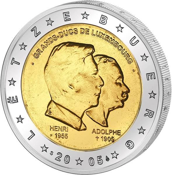 2 Euro Luxemburg Großherzog Henri und Adolphe 2005