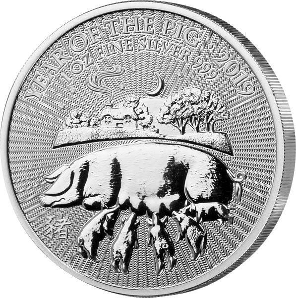 1 Unze Silber Großbritannien Jahr des Schweins 2019