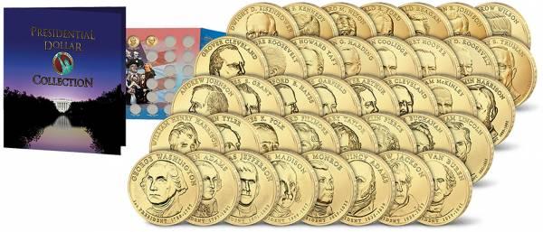 39 x 1 Dollar USA Präsidenten-Dollars Komplett-Set