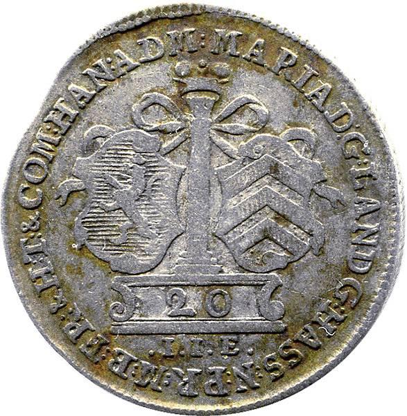 20 Kreuzer Landgräfin Maria I. von Braunschweig-Lüneburg 1764 sehr schön