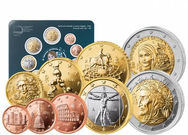 Euro-Kursmünzensatz Italien inklusive 2-Euro-Gedenkmünze 2018