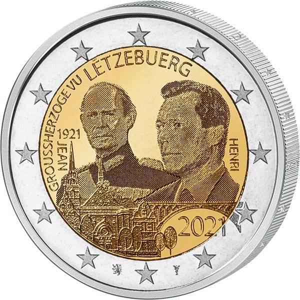 2 Euro Luxemburg 100. Geburtstag des Großherzogs Jean Hologramm 2021