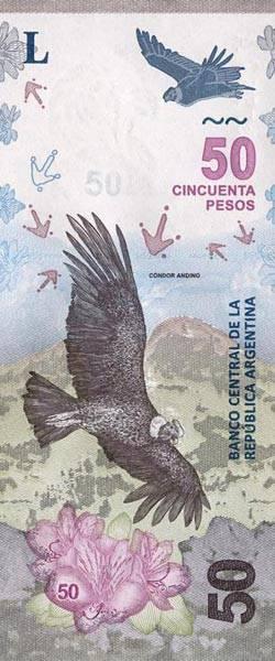 50 Pesos Banknote Argentinien Andenkondor 2018