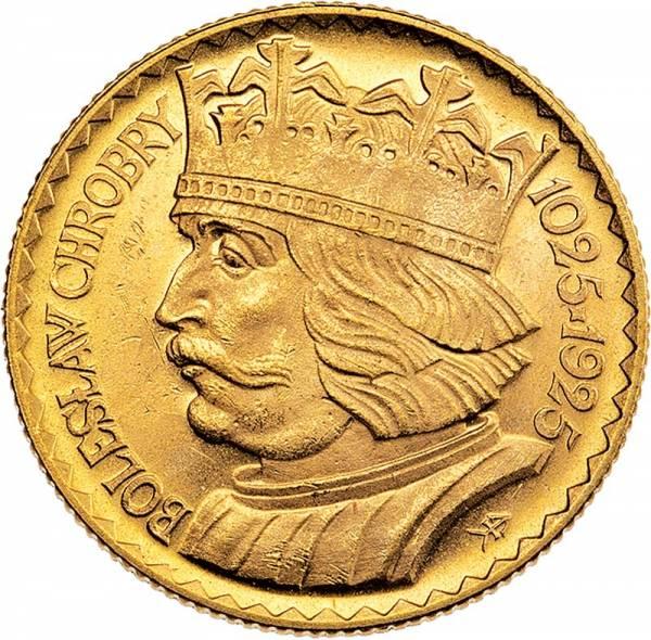 10 Zloty Polen 900-Jahrfeier der Gründung des Königreichs König Boleslaw I. 1925