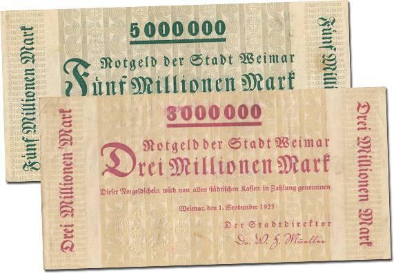 3 und 5 Millionen Mark Inflationsset Weimar 1923