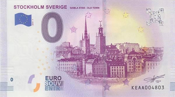 0-Euro-Banknote Schweden - Altstadt von Stockholm