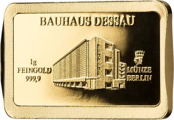 1 Gramm Goldbarren Deutsche Wahrzeichen Bauhaus Dessau