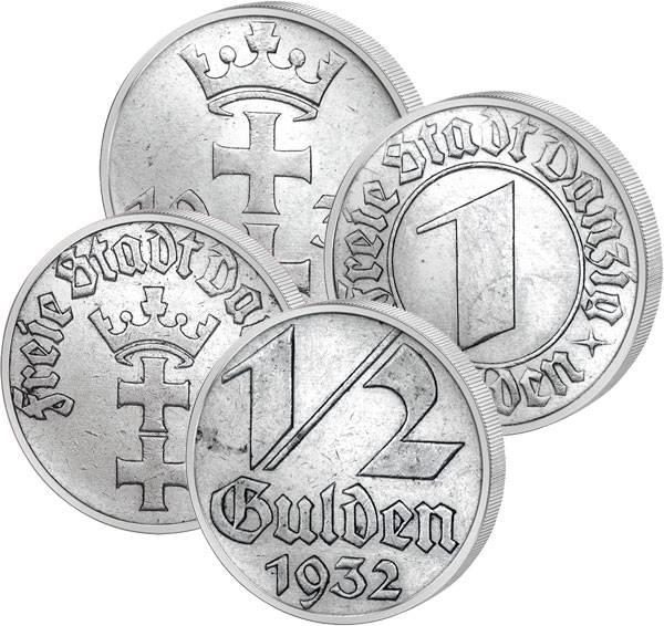 1/2 und 1 Gulden Danzig Wappen von Danzig 1932 Sehr schön