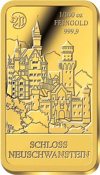 1/100 Unze Goldbarren Schloss Neuschwanstein