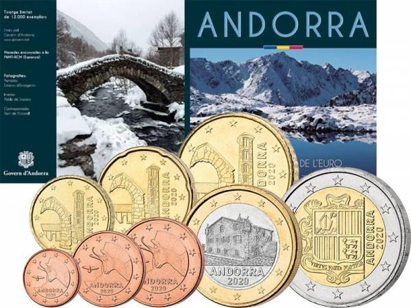 1 Cent - 2 Euro Kursmünzensatz Andorra 2020
