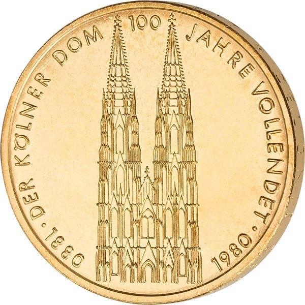 5 DM BRD Kölner Dom 1980 vollvergoldet