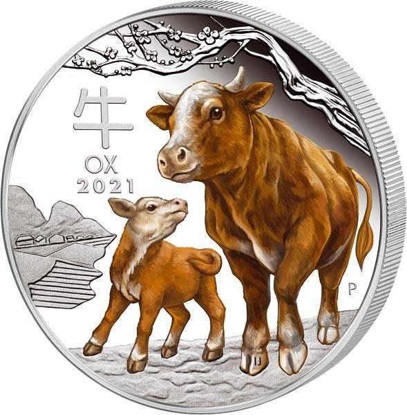 1 Unze Silber Australien Jahr des Ochsen mit Farb-Applikation 2021