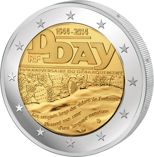 2 Euro Frankreich 70 Jahre D Day 2014 Frankreich 2 Euro