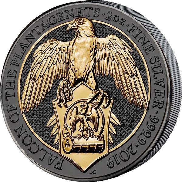 2 Unzen Großbritannien Der Falke der Plantagenets 2019 Golden Enigma Edition