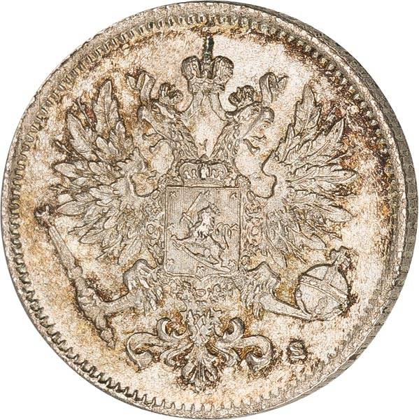 25 Penniä Finnland Gekrönter russischer Doppelkopfadler 1894-1917