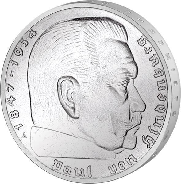 2 Reichmark Paul von Hindenburg 1936-1939 sehr schön