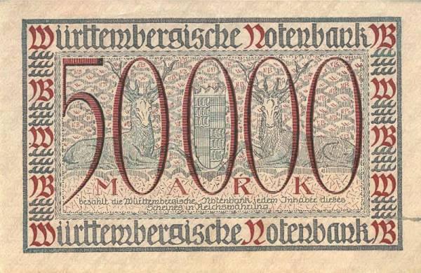50.000 Mark Württemberg Württembergische Notenbank 1923