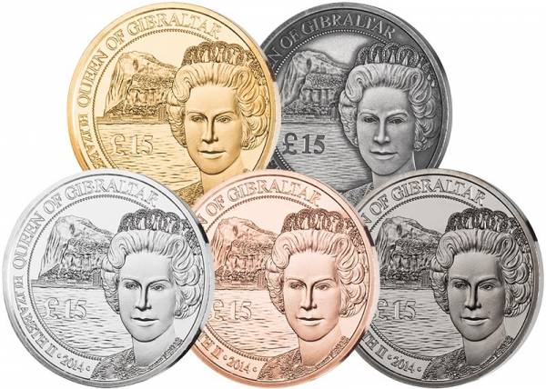 5 x 15 Pounds Gibraltar Queen Jubilee Set 2014