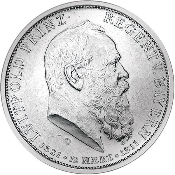2 Mark Bayern 90. Geburtstag Luitpolds 1911 D Vorzüglich