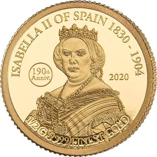 5 Dollars Fidschi 190. Geburtstag Isabella II. von Spanien 2020