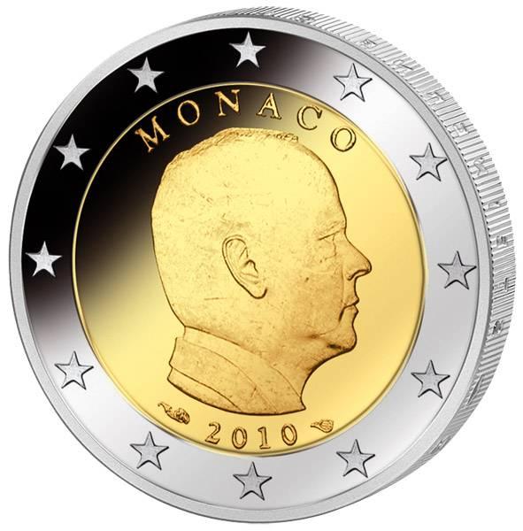 2 Euro Kursmünze Monaco Fürst Albert II. 2010 Polierte Platte