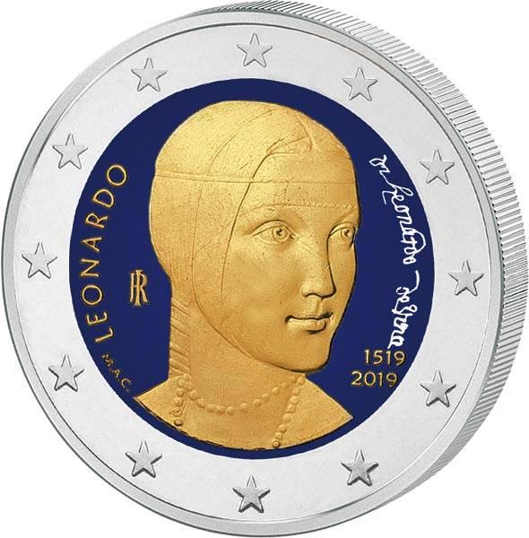 2 Euro Italien 500. Todestag von Leonardo da Vinci 2019 mit Farb-Applikation