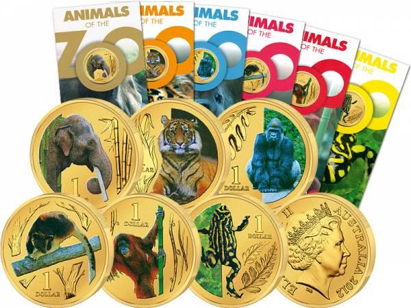6 x 1 Dollar Australien Zoo Tiere 2012  Stempelglanz