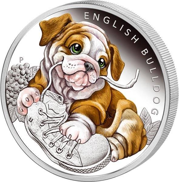 50 Cents Tuvalu Hundewelpen Bulldogge 2018