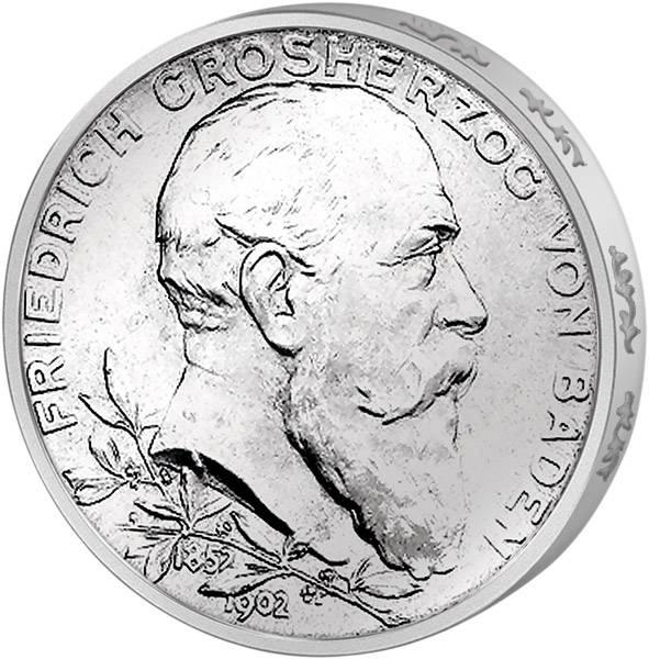 5 Mark Baden Großherzog Friedrich 50. Regierungsjubiläum 1902 Vorzüglich