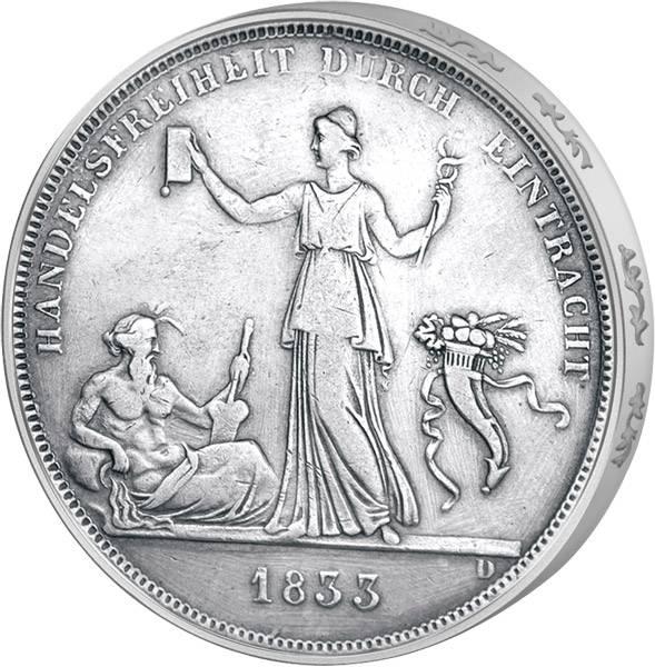 Taler Kronentaler Württemberg König Wilhelm I. 1833 Sehr schön