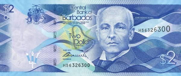 2 Dollars Banknote Barbados John Redman Bovell