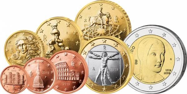 Euro-Kursmünzensatz Italien inklusive 2-Euro-Gedenkmünze 2019 im Spar-Set