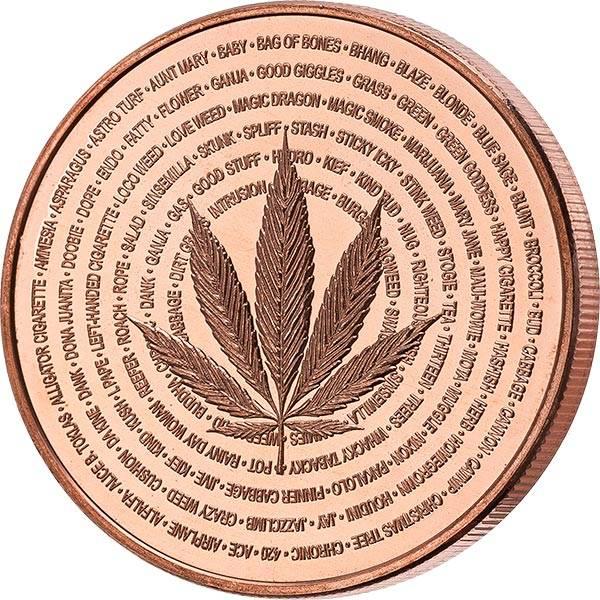 1 AVDP-Unze Kupfer Gedenkprägung Cannabis Natures Holiday